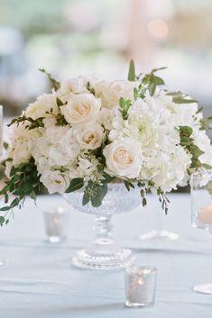 white floral centerpieces wedding flowers - Page 4 of 101 - Wedding Flowers & Bouquet Ideas Low Wedding Centerpieces, White Floral Centerpieces, Wedding Flower Arrangements, Reception Decorations, Flower Decorations, Wedding Bouquets, Floral Arrangements, Centerpiece Flowers, Centrepieces