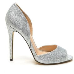 Grains Of Glitter Peep-Toe Heels SILVER (150 VEF) ❤ liked on Polyvore featuring shoes, pumps, metal, high heels stilettos, glitter pumps, silver shoes, silver peep toe pumps and glitter shoes