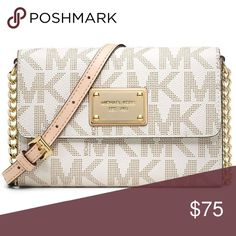 Michael Kors wallet/crossbody bag Only used 4 times, looks brand new. White with beige accents and a gold chain to wear it as a cross body bag. In perfect condition. KORS Michael Kors Bags Crossbody Bags