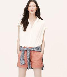 Petite Shirred Short Sleeve Shirt
