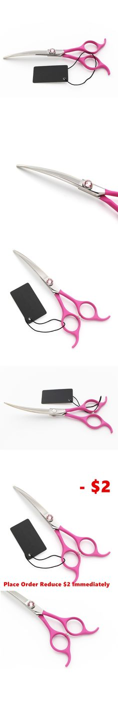 """6.5""""  Pink Rubber Pet Scissors Downward Curved Dog Grooming Scissors Dog Hair Scissors Cat Groomer Clipper Animals Horse Shears"""