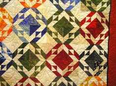I love everything about this quilt, the colors, the pattern the movement in the background because of the different colored neutrals. Quilting Projects, Quilting Designs, Quilting Ideas, Half Square Triangle Quilts, Contemporary Quilts, Traditional Quilts, Scrappy Quilts, Barn Quilts, Quilt Making