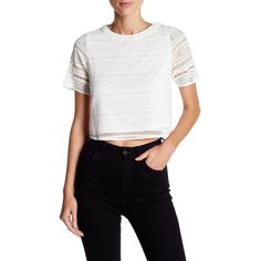OnTwelfth Roman Lace-Up Cropped Tee ($25) ❤ liked on Polyvore featuring tops, t-shirts, white, white crop tee, crop top, white t shirt, lace tee and crop tee
