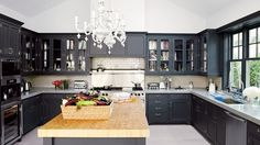 More proof that matte black is trending in everything from kitchen cabinets to bathroom fixtures. Gwyneth Paltrow's East Hampton kitchen.