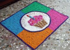 Colorful Birthday Rangoli Design