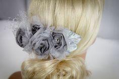Stunning Bridal Fascinator/ Hair Clip in Platnium Grey-$68.00 #vintageweddings   #bridalfascinator   #grey #bridalhairclip   #bridalheadpiece #weddings #greyweddings #flowerhairclip #vintage #platnium