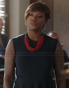Annalise's navy ribbed peplum dress and red bead necklace on How to Get Away with Murder.  Outfit Details: http://wornontv.net/37630/ #HTGAWM
