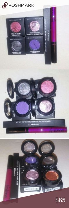 M.A.C bundle All brand new never been used  100% AUTHENTIC   *vamplify lipgloss -WHAT'S GOING ON? *eyeshadow - PARFAIT AMOUR FROST *dazzleshadow - SAY IT ISN'T SO *dazzleshadow - LET'S ROLL *extra dimension eyeshadow- SMOKY MAUVE MAC Cosmetics Makeup Eyeshadow