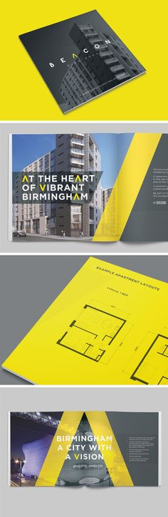 Beacon Birmingham Development Brochure - Design of brochure to showcase a stylish building development within Birmingham City Centre Brochure Cover Design, Graphic Design Brochure, Brochure Layout, Luxury Brochure, Luxury Branding, Branding Design, Logo Design, Birmingham City Centre, Building Development