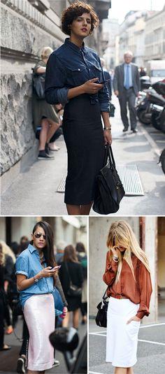 Midi skirts + button downs