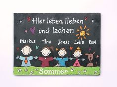 Schiefer Türschild Namensschild Comicfamilie II von byAnnoDomini via dawanda.com