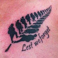 Lest we forget in remembrance soldier tattoo in Fern leaf design tattoo. Maori Tattoos, Irezumi Tattoos, Army Tattoos, Military Tattoos, New Tattoos, Small Tattoos, Tattoos For Guys, Sleeve Tattoos, Cool Tattoos