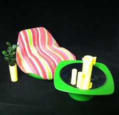 Vintage 1970's Barbie Dream House furniture. Even includes the great mid century Barbie sized faux plant!