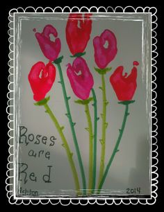 Valentine toddler bouquet, hand print, roses are red