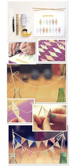 diy cake bunting, maybe use paint sample swatches to make bunting