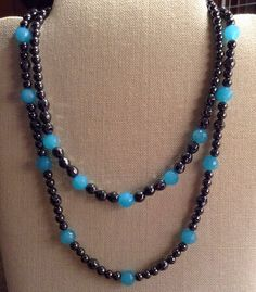Double+Strand+Hematite+Necklace+with+Blue+by+TarasExpressions,+$32.00