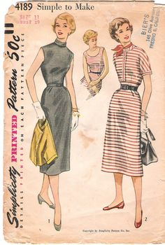 1950s Wiggle Dress and Jacket Simplicity 4189 Sewing Pattern, offered on Etsy by GrandmaMadeWithLove