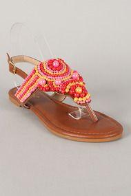 Bamboo Promise-06 Pearl Slingback Thong Flat Sandal