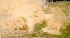 """Filadelfo Simi (Levigliani 1849 - Firenze 1923), """"Le Ninfe dell'Arno"""". olio su tela di cm. 55 x cm. 30,5, non firmato, ma con sul retro una scritta autografa in cui si leggono dei numeri."""