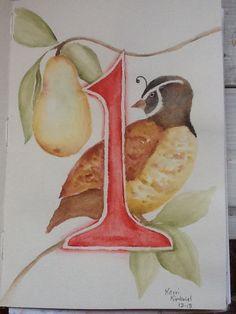 Partridge in a Pear Tree 12 Days of Christmas    Kerri Kimbriel.  Watercolor