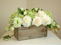 Flower Box Centerpiece, Spring Flower Arrangements, Wedding Flower Arrangements, Table Flowers, Spring Flowers, Floral Arrangements, Wedding Flowers, Centerpiece Ideas, Flowers Decoration