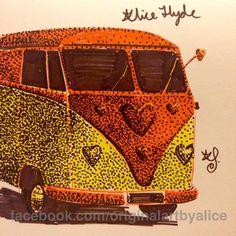 VW Bus Kombi Campervan Aircooled Drawing