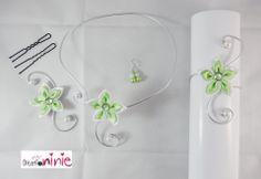 """Parure 4 pièces """"Agathe"""" fleur mariage vert anis et blanche - personnalisable : Parure par creation-ninie"""