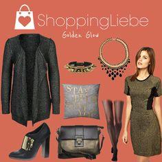 """In funkelndem Gold und Grün strahlen wir auch an kalten Tagen. Unser heutiges Outfit """"Golden Glow""""  Kleid: http://shoppingliebe.de/goto/YBlBewLfPe Cardigan: http://shoppingliebe.de/goto/0TK04ndRIt Schuhe: http://shoppingliebe.de/goto/Cos9uNYOhK Tasche: http://shoppingliebe.de/goto/57AEbp70w6 Kette: http://shoppingliebe.de/goto/eGR5qouYIg Armband: http://shoppingliebe.de/goto/Hrii8XvDyO Strumpfhose: http://shoppingliebe.de/goto/4wwDVe2x7q Kissen: http://shoppingliebe.de/goto/BLEqbPthz1"""