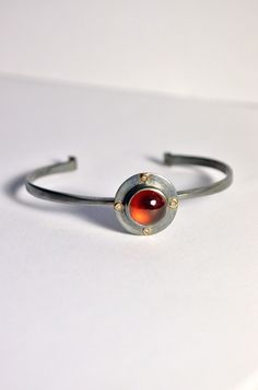 Helios Cuff Bracelet - Hessonite Garnet and Diamond in Blackened Sterling Silver with 14k accents