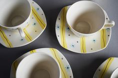 Midwinter Pottery 'Elstree' coffee cups, designed by Jessie Tait 1956.