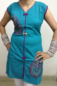 Clover Green Embroidered Cotton Kurti by Gossip Fashion  (17% Discount on 300 Rs. + Shipping Free all over INDIA + COD Cash on Delivery also available.)