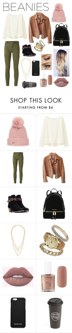 """""""Pom Pom Beanie"""" by paloslutzky ❤ liked on Polyvore featuring Calvin Klein, Uniqlo, 7 For All Mankind, Armani Collezioni, Michael Kors, IaM by Ileana Makri, Dorothy Perkins, Forever 21, MICHAEL Michael Kors and The Created Co."""