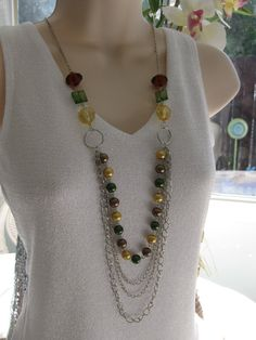 Multi Strand Chain Necklace Beaded Necklace by RalstonOriginals