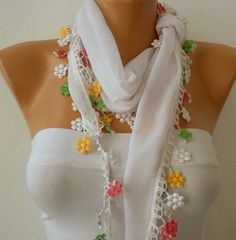 White Scarf  Cotton  Scarf  Headband Necklace by fatwoman on Etsy, $15.00