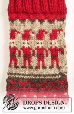 29 New Ideas For Crochet Christmas Socks Free Pattern Elves Knitted Christmas Stocking Patterns, Knitted Christmas Stockings, Christmas Knitting, Crochet Christmas, Knitting Patterns Free, Free Knitting, Baby Knitting, Free Pattern, Drops Design