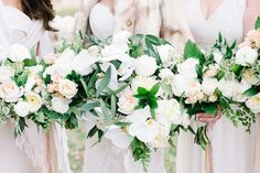 GORGEOUS brides and bridesmaids bouquets with long dangling ribbons! AMAZING JOB!  Coordination | Mac & B Events >> Photography | Aaron and Jillian Photography >> Florist | Tiger Lily Florist