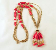 Vintage Red Tassel Necklace Multistrand by GrapenutGlitzJewelry, $26.00