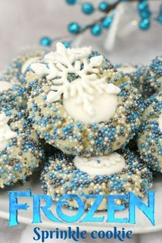 For a festive Christmas cookie, these sprinkle drop cookies are easy to make. They are snowflake cookies inspired by Disney's Frozen movie. #Frozen2 #DisneysFrozen #ChristmasCookies #DropCookies #HolidayBaking #DisneyRecipes