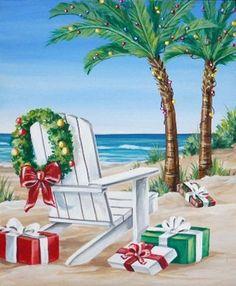 "South Florida ""Beach Presents"" Holiday Cards- Set of 12 Cards/envelopes Nautical Christmas, Tropical Christmas, Beach Christmas, Christmas In July, Christmas Art, Vintage Christmas, Christmas Decorations, Holiday Decor, Christmas Scenes"