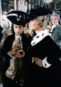 Love this, on the set of Marie Antionette, listening to an ipod.