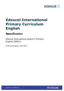 Edexcel International Award in Primary English specification