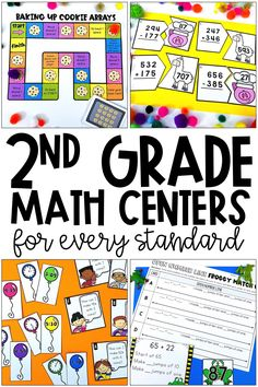 These 2nd grade math centers and stations include games