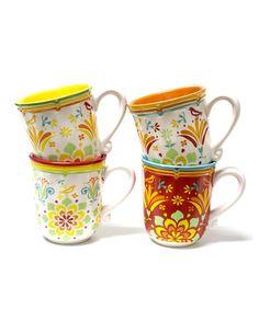 Look at this #zulilyfind! Mumbai Mug Set by Euro Ceramica #zulilyfinds