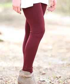 Look at this #zulilyfind! Wine Cable-Knit Fleece Leggings #zulilyfinds