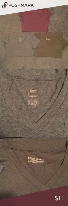 Bundle of plain v necks All from target two are boyfriend tees that are on the bottom that are grey and olive green with little pockets in the left corner and the one on the top is a plum purple color and is extremely soft and comfy and stretchy it also runs a tad longer in the torso area. All in great condition. All size XS Mossimo Supply Co. Tops Tees - Short Sleeve