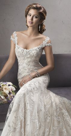 beautiful lace wedding dress by Sottero and Midgley