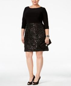 Adrianna Papell Plus Size Sequined A-Line Dress | macys.com