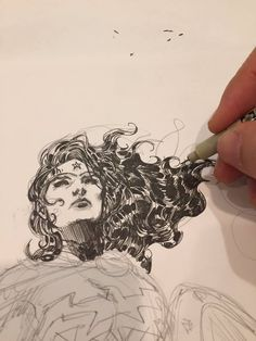 Jim Lee - Almost done inking the head & hair which is the most critical part #wonderwoman #dccomics #deadlinetonite