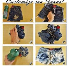DIY acid washed high waisted shorts - I'm guessing the bottle is bleach and those yellow things are rubber bands.  There's no link with written info.