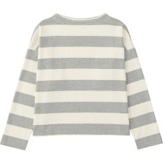 UNIQLO Women Striped Mock Neck Long Sleeve T-Shirt (120 NOK) ❤ liked on Polyvore featuring tops, t-shirts, fitted tee, fitted t shirts, mock neck t shirt, uniqlo t shirts and striped tee